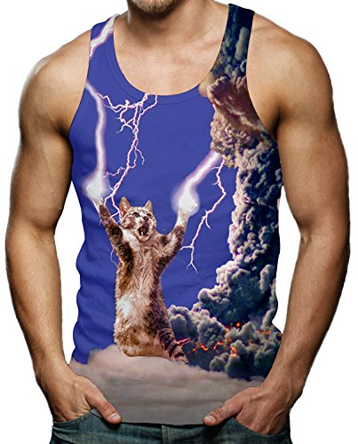 (Men's Thunder Lightning Cat Tank Tops 3D Printed Funny Sleeveless Graphic Tee Cool Gym Workout Shirts)