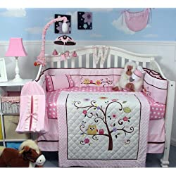 SOHO Cherry Blossom Crib Nursery Bedding Set 14 pcs Pink and White