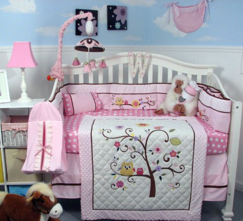 Set Bedding Blossom - SOHO Cherry Blossom Crib Nursery Bedding Set 14 pcs