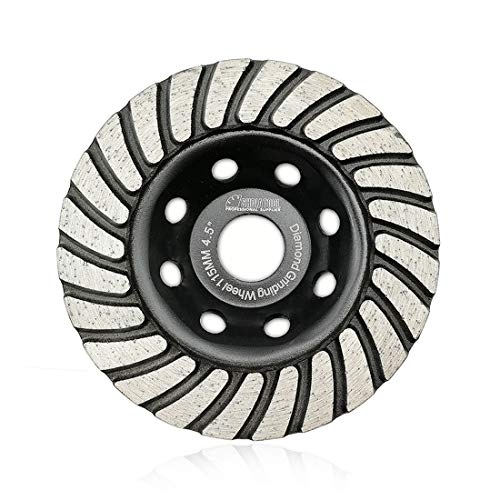 SHDIATOOL 4-1/2 Inch Diamond Turbo Row Grinding Cup Wheel Fits 7/8 Inch Arbor Diamond Grinding Disc for Concrete Masonry ()