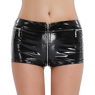 0a98834b1a FEESHOW Mini Short en Cuir Verni Brillant Culotte à Zip Serré pour Femme  Noir S