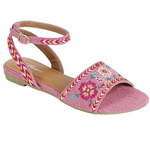 Dernier Modèle Facile À Enfiler Sur Le Style Brodé Peep Toe Plat Sandales Rose