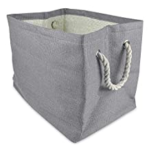 "DII Oversize Woven Paper Storage Basket or Bin, Collapsible & Convenient Home Organization Solution for Office, Bedroom, Closet, Toys, & Laundry (Large – 17x15x12""), Gray Solid"