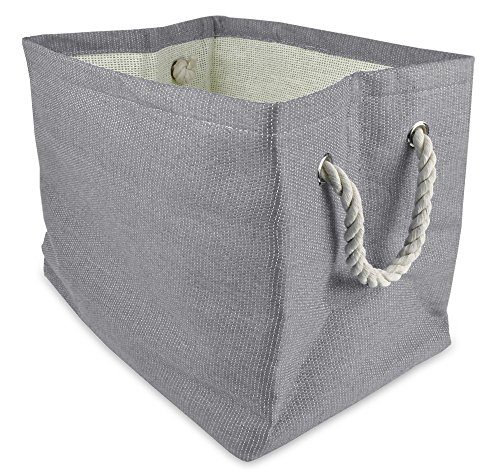 "DII Oversize Woven Paper Storage Basket or Bin, Collapsible & Convenient Home Organization Solution for Office, Bedroom, Closet, Toys, & Laundry (Medium – 15x14x10""), Gray Solid (14 Basket)"