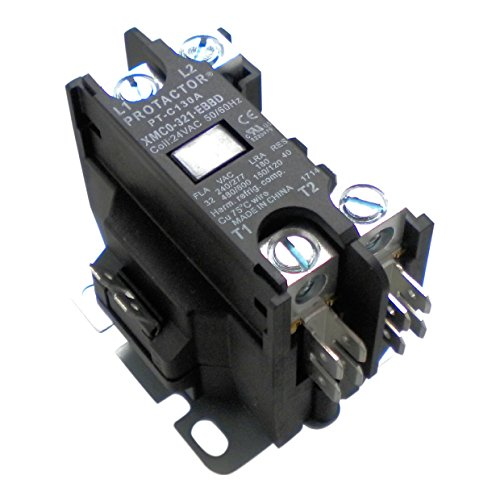 Protactor 1 Pole 32 AMP Heavy Duty AC Contactor Replaces Virtually All Residential 1 Pole Models 30 Amps or - Air Carrier Parts Conditioner