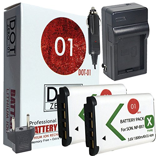 DOT-01 2x Brand 1800 mAh Replacement Sony NP-BX1 Batteries and Charger for Sony DSC-HX400V Digital Camera and Sony BX1