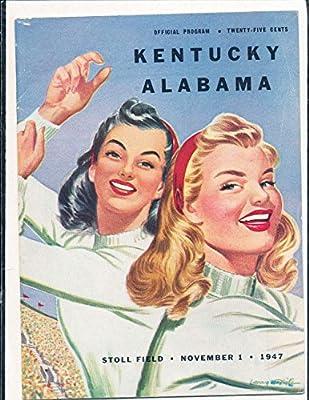 1947 11/1 Kentucky vs Alabama Football Program Bear Bryant
