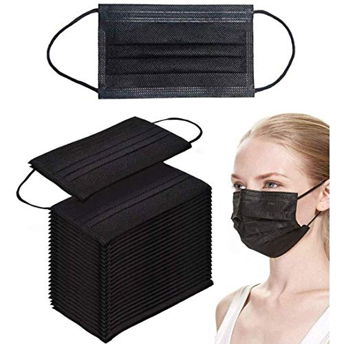 Vita Culina 4ply Black Disposable Face Mask with Activated Carbon, Black Color Breathable & Comfortable Masks -50 PCS per box (Black 4ply)
