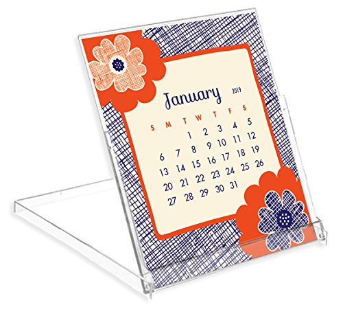 Night Owl Paper Goods Flora Fauna 2019 Desk Calendar, White
