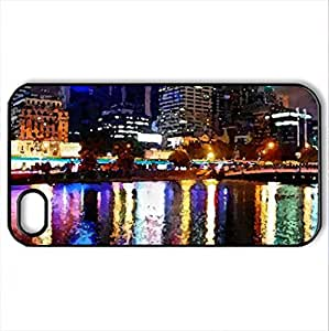 Beautiful City - Case Cover for iPhone 4 and 4s (Skyscrapers Series, Watercolor style, Black)