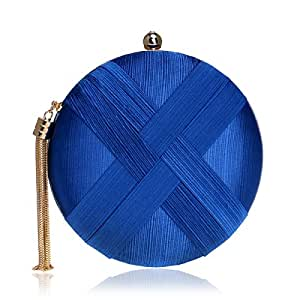 Women's Round Satin Evening Clutch Bags Tassel Pendant Silk Purse Evening Handbags for Formal Party Bridal Wedding,Blue,5.5 * 18 * 18cm