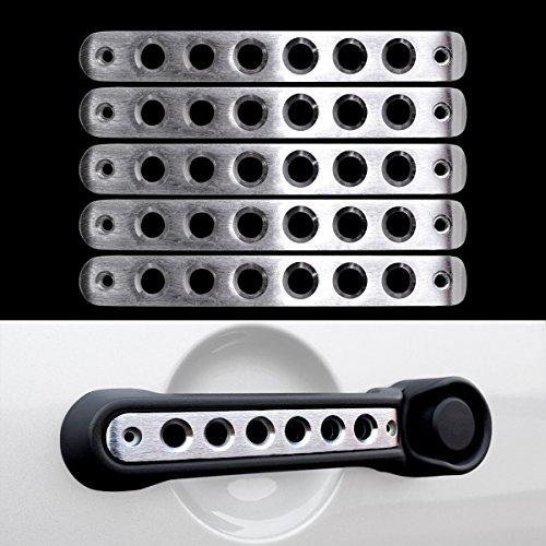 Icars Silver Door Handle Inserts Front Rear Aluminum Grab Handle Cover Trim For 2007   2017 Jeep Wrangler Jk   Unlimited Accessories 4 Door  5 Pcs