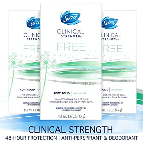 Secret Antiperspirant Deodorant for Women, Clinical Strength Soft Solid, Paraben Free, Dye Free, Unscented, for Sensitive Skin, 1.6 oz, (Pack of 3)
