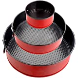 "Springform Pan Set 4""+ 7""+ 9""- Nonstick Round Cake Pan Set Cheesecake Pan Instant Pot Accessories- Round Baking Pans with Red Coating and Removable Bottom (Pack of 3)"