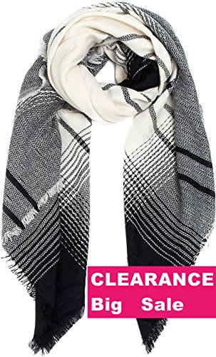 Blanket Scarf Women Scarves Wrap Poncho   Ecoinway Gradient Black Scarf Square Shawl Stylish Tartan Warm Cape Oversized Long Scarves Checked Hijab  Black Beige Scarf