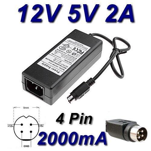 Netzadapter Ladegerät 12V 5V 2A 4Kiefer für Festplatte Multimedia Woxter WATTAC ba0362zi-8-a02