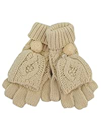 Cream Aran Knit Aran Pomp Mitten Gloves