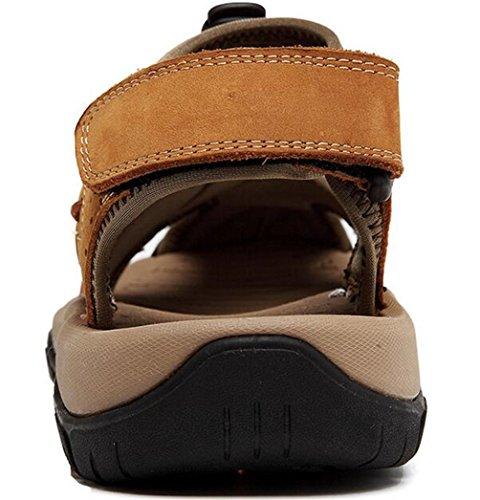 PPXID Mens Outdoor Leather Hiking Sandals Close Toe Beach Athletics Sandal Brown p2yzj2ob2