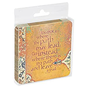 Tree-Free Greetings Set Of 4 Cork-Backed Coasters, 3.75 x 3.75 Inches, Do Not Go Where Themed Inspiring Quote Art (52565)