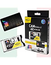 TiVuSat 4K UHD Black Card & EasyMouse 4K Ultra HD SmartCam van DIGIQuest - UHD CI+ module zwart inclusief TiVuSat 4K UHD, Italiaanse HD/ 4K kanalen via satelliet Eutelsat HotBird 13,0° Oost