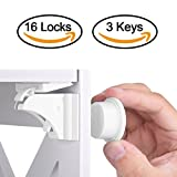 Baby Safety Magnetic Cabinet Lock Set HURRISE Child Safety Locks Kids Toddler Proofing Hidden Cupboard Drawer Locking System No Drilling & Screws ( 16 Locks & 3 Keys) (16 Locks+3 Keys)