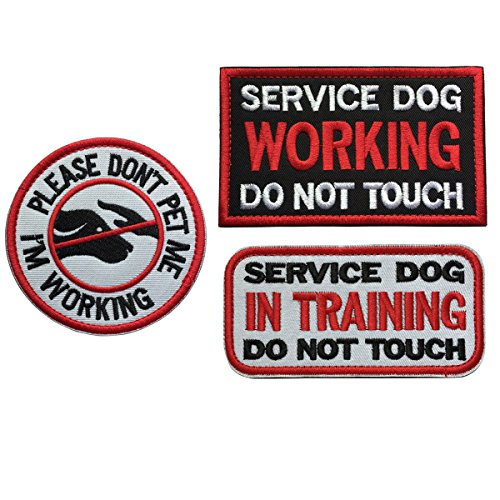 SpaceAuto Bundle 3 Pieces Service Dog Working Do Not Touch Military Tactical Morale Badge Hook & Loop Fastener Patch