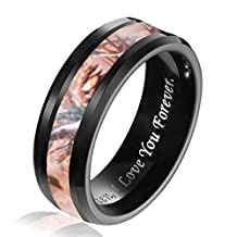 Hosty Bten Mens 8mm Desert Camouflage Inlay Hunting Tungsten Wedding Band Ring with Ring Box