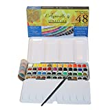 Sennelier L'Aquarelle French Watercolor Paint, Metal Set Of 48 Half Pans