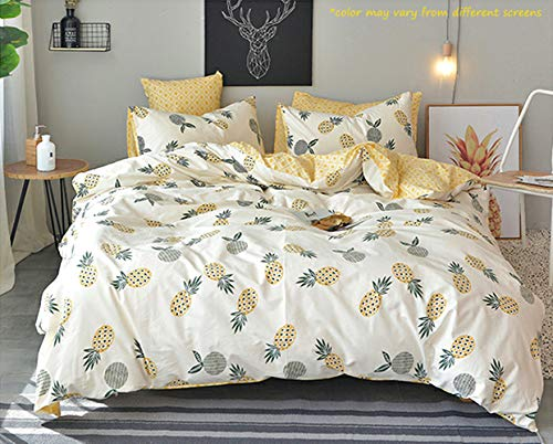 Jumeey Fruit Duvet Cover Full Yellow Pineapple Printed Duvet Cover Set Queen Girls Women Bedding Sets 3 Piece 1 Duvet Cover with Zipper Closure 2 Envelope Pillowcases No Comforter,Soft Breathable