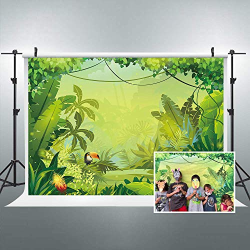 Riyidecor Jungle Safari Backdrop Forest Kids Green Photography Background 7x5ft Happy Birthday Decoration Celebration Props Party Photo Shoot Floral Baby Shower Dessert Table Vinyl Cloth...]()