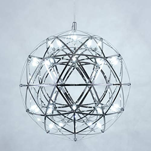 Mzithern Modern Geometric Stainless Steel Chandelier,Stainless Steel Chrome Mirror Chandelier,Morden LED Star Ball Chandelier for riving Room Bedroom Dining Room, Cool White 6500K, 16 inches