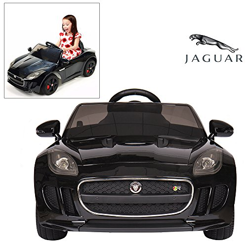 Official Licensed Jaguar F-TYPE Ride On Car With Remote Control For Kids Painted Black | 12V Power Battery Electric Kid Car To Drive With 2.4G Parental Control & Openable Doors (Drive Kids)