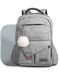 Baby Diaper Bag Backpack for Mom and Dad W/ Changing Pad & Cute Pompon Keychain: Fit Everything Inside! Grey Unisex...