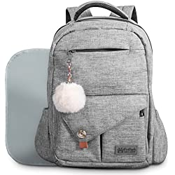 Baby Diaper Bag Backpack for Mom and Dad W/ Changing Pad & Cute Pompon Keychain: Fit Everything Inside! Grey Unisex Organizer, Large Waterproof Pack, Fits on Back, Stroller or as a Handheld Nappy Tote