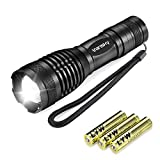 Led Torch Tactical Flashlight, Vansky Handheld Mini Pocket Torch 800 Lumen Cree XML2 T6 Adjustable Focus Zoomable Led Light Water Resistant Camping Torch with 5 Modes, 3 x AAA Batteries Included