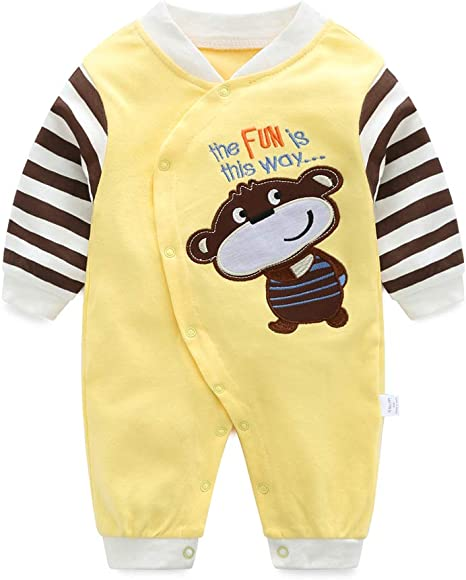 Bebé Algodón Mameluco Mono Niño Niña Manga Larga Trajes Infantil ...