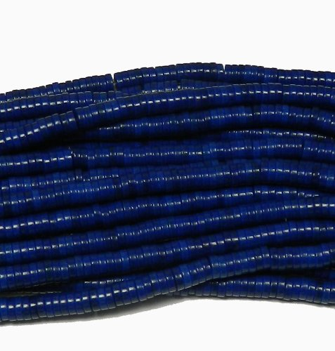 """6mm Heishi Chalk Turquoise Dyed Lapis Blue Gemstone Beads Approx 30"""" of Loose Strand Semi Precious Stone Beads"""