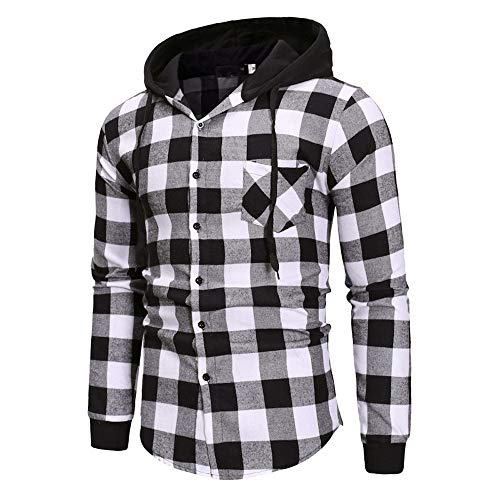 DEATU Sale Men Plaid Lightweight Hoodies Sweatshirt Stylish Slim Fit Autumn Winter Pullover Top Outwear Blouse Pocket(Black,US Size S = Tag M)