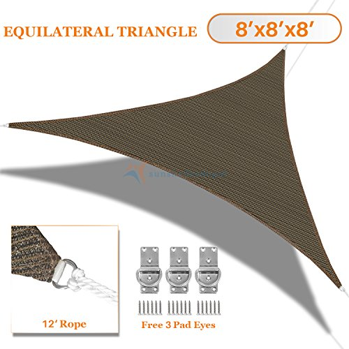 Sunshades Depot 8' x 8' x 8' Sun Shade Sail Equilateral Triangle Permeable Canopy Brown Coffee Custom Size Available Commercial Standard