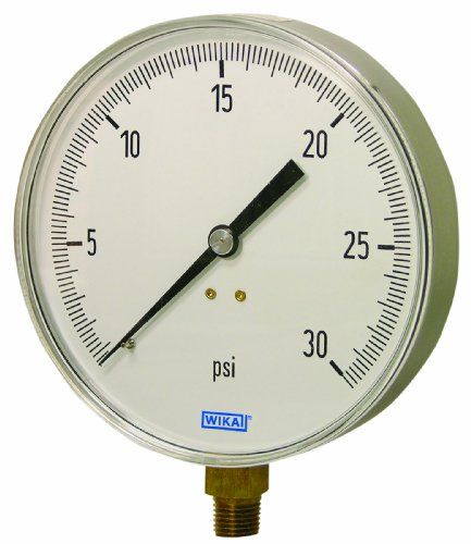 WIKA 4277831 Commercial Pressure Gauge, Dry-Filled, Copper Alloy Wetted Parts, 4-1/2