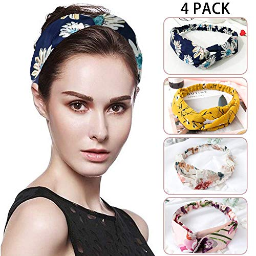 (SAYGOGO Head Band, Sports Hair Band, Cross Fabric Head Band, Washing Hair Band, Bohemian Floral Style, 4Pack Women's Hair Accessories)