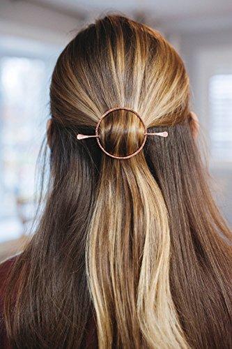 Gold Hair Clip, Open Circle Hair Slide, Copper Brass Gold Clip, Hair Clip Hammered Brass Hair Barrette, Minimal Brass Hair Pin