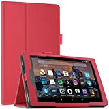 Infiland All-New Fire HD 8 Tablet Case - Premium PU Leather Folio Stand Cover Case with Auto Wake / Sleep for All-New Fire HD 8 (7th Generation, 2017 release), Red