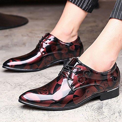 los la Zapatos DE los Los 50 Extra Rojo Manera Manera Zapatos Tamaño Bebete5858 la de de Gran Grande Arriba extragrandes 48 para Hombres Casuales Atan 49 Cuero de de FTaawqxB5