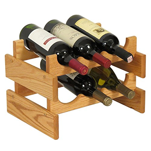 Wooden Mallet 6 Bottle Dakota Wine Rack, Light Oak