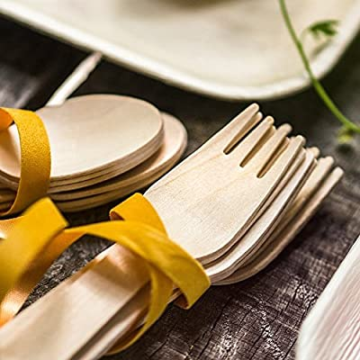 "Disposable Wooden Cutlery 200pc set by EarthLove | 100% All-Natural, Eco-Friendly, Biodegradable, and Compostable! Pack of 200- 6.5"" utensils (100 forks, 50 spoons, 50 knives)"