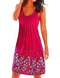 Amstt Women Sleeveless Summer Casual Beach Sundress Floral Print Tank Top Dress