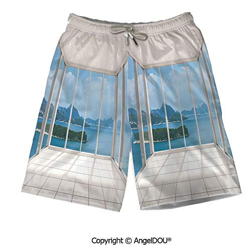 AngelDOU Soft Men Swim Trunks Beach Board Shorts,Abstract,Geometric Cube Prisms