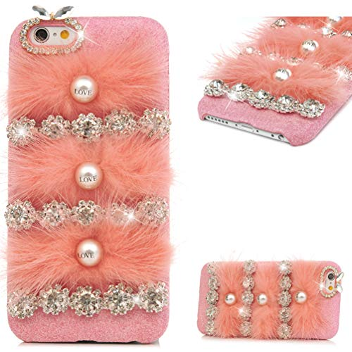 iPhone 6 Case, iPhone 6s Case, MOLLYCOOCLE Winter Fashion Pink Bling Rhinestone Fluff Pearl Design for Women Grils Furry Case for iPhone 6 / 6s (4.7 inches)