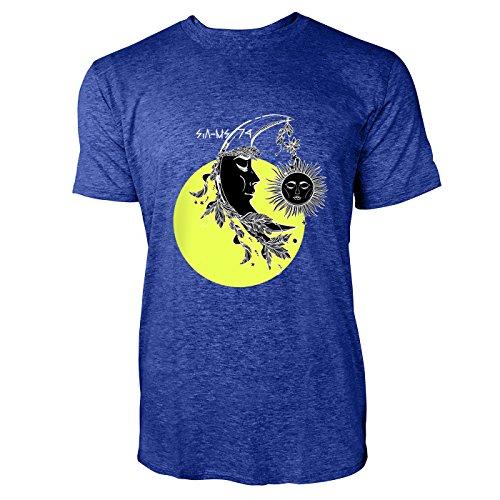 SINUS ART® Halbmond mit Federn und Sonne Herren T-Shirts in Vintage Blau Cooles Fun Shirt mit tollen Aufdruck